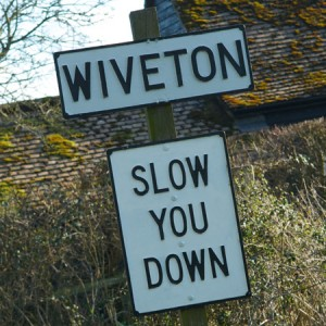 Wiveton Slow you down sign